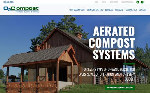 Screenshot of Home Page o2compost.com - Aerated Compost Systems - O2Compost - captured Sept. 21, 2018