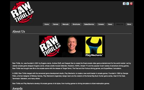 Screenshot of About Page rawthrills.com - About Us   - Raw Thrills, Inc. - captured Oct. 26, 2014