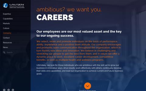 Screenshot of Jobs Page lauren.com - Lauren Careers - captured Jan. 26, 2016