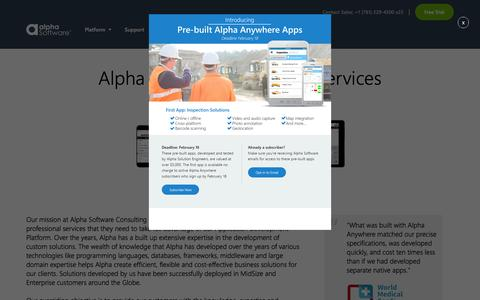 Screenshot of Services Page alphasoftware.com - Alpha Software | Services | Alpha Consulting Services - captured Feb. 16, 2016