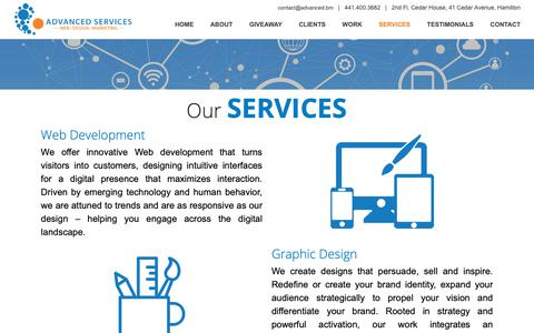 Screenshot of Services Page advanced.bm - Advanced Services :: Web | Design | Marketing - Services - captured Sept. 28, 2018