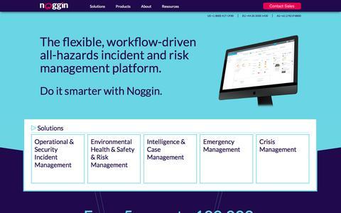 Screenshot of Home Page noggin.io - Noggin | All-Hazards Incident Management Software - captured April 22, 2018