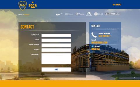 Screenshot of Contact Page usboca.com - Official site Club Atletico Boca Juniors - USA - captured Oct. 2, 2014