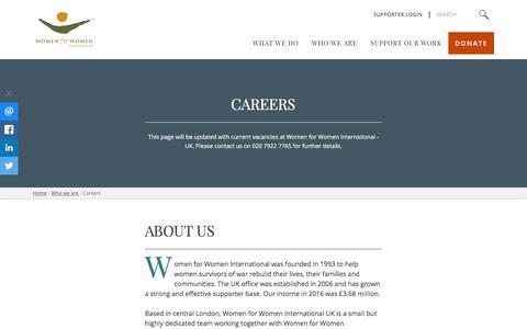 Screenshot of Jobs Page womenforwomen.org.uk - Careers | Women For Women - captured Jan. 16, 2018