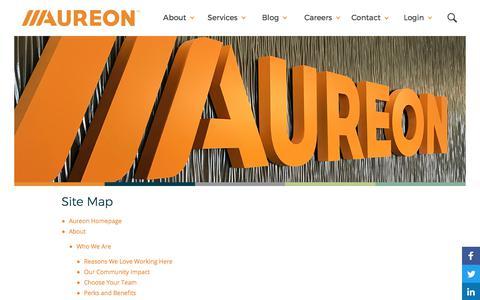 Screenshot of Site Map Page aureon.com - Aureon.com Site Map - captured Oct. 6, 2017