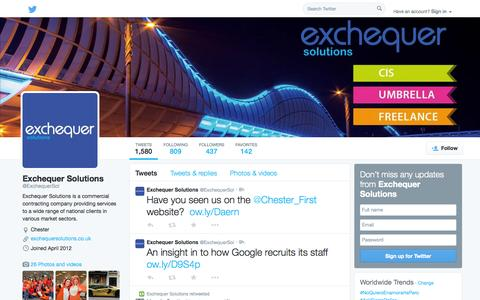 Screenshot of Twitter Page twitter.com - Exchequer Solutions (@ExchequerSol) | Twitter - captured Oct. 22, 2014