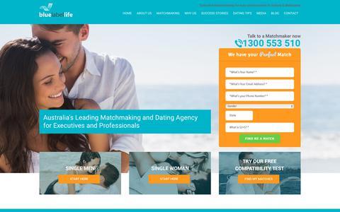 Screenshot of Home Page bluelabellife.com.au - Elite Singles | Elite Dating Site | Matchmaking Services - captured Aug. 2, 2018
