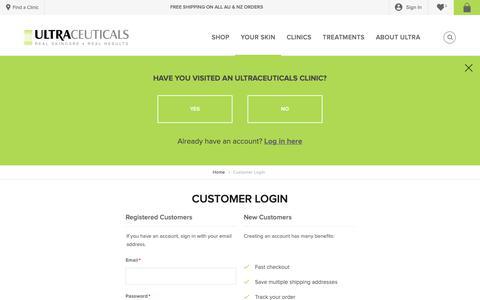 Screenshot of Login Page ultraceuticals.com - Customer Login - captured Oct. 19, 2018