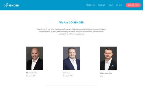 Screenshot of Contact Page co-sender.com - About us — CO-SENDER - captured Nov. 17, 2018