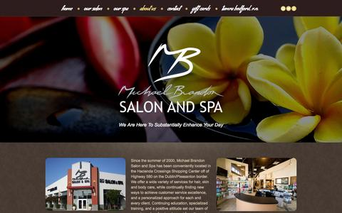 Screenshot of About Page mbsalonspa.com - about us  |  Michael Brandon Salon and Spa - captured Nov. 3, 2014