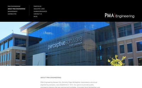 Screenshot of About Page pmaengineering.com - PMA Engineering  ABOUT PMA ENGINEERING - PMA Engineering - captured Dec. 6, 2015