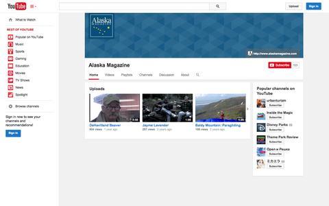 Screenshot of YouTube Page youtube.com - Alaska Magazine  - YouTube - captured Oct. 23, 2014