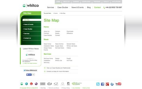 Screenshot of Site Map Page whitcoltd.com - whitco - The Sitemap for a leading Northamptonshire Catering Equipment Supplier - captured Oct. 26, 2014