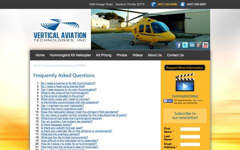 Screenshot of FAQ Page vertical-aviation.com - Hummingbird Helicopter - captured May 24, 2016