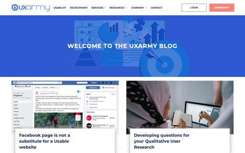 Screenshot of Blog uxarmy.com - Blogs - captured Oct. 18, 2018