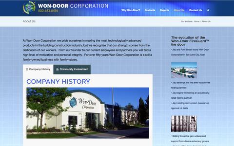 Screenshot of About Page wondoor.com - Sliding Fire Doors - Won-Door - captured Oct. 7, 2014