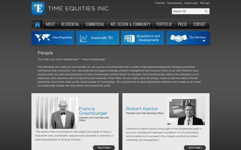 Screenshot of Team Page timeequities.com - People - Time Equities Inc. - captured Nov. 2, 2014