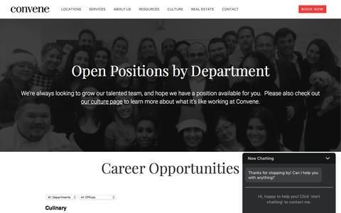 Screenshot of Jobs Page convene.com - Career Opportunities at Convene - captured Oct. 11, 2017