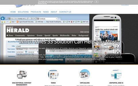 Screenshot of Products Page miles33.com - Editorial, advertising and mobile Content Management - captured June 11, 2017
