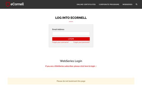 Screenshot of Login Page ecornell.com - eCornell   Log in - captured June 16, 2019