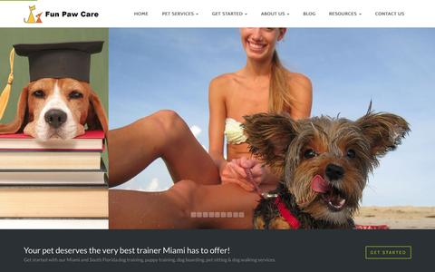 Screenshot of Home Page funpawcare.com - Dog Trainer Miami FL | Expert Dog Trainer - captured July 16, 2015