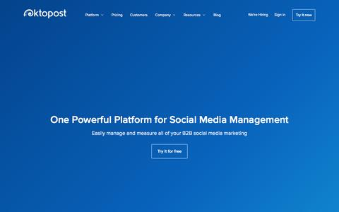 Screenshot of Home Page oktopost.com - Social Media Management for B2B Marketing - Oktopost - captured Nov. 24, 2015