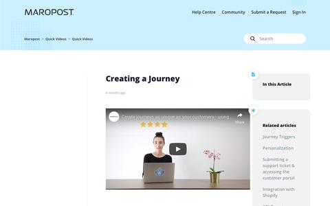 Screenshot of Support Page maropost.com - Creating a Journey – Maropost - captured July 1, 2019
