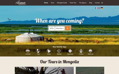 Screenshot of Home Page mongolia-trips.com - Mongolia Travel & Tours - Horseback Mongolia Agency - captured Nov. 1, 2018