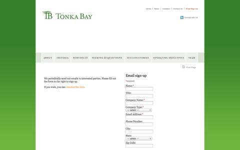 Screenshot of Signup Page tonkabayequity.com - Email Signup  » tonkabayequity.com - captured Oct. 7, 2014