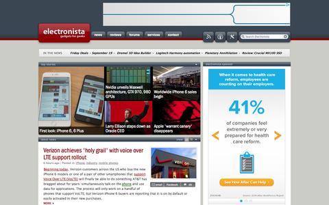 Screenshot of Home Page electronista.com - Technology, Gadgets, Mobile Phones, DVR, GPS, Camera, Music News | Electronista - captured Sept. 22, 2014