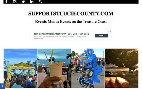 Screenshot of Menu Page supportstluciecounty.com - Treasure Coast - Events Menu - captured Dec. 18, 2018