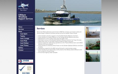 Screenshot of Services Page icenimarine.co.uk - Services - captured Oct. 6, 2014