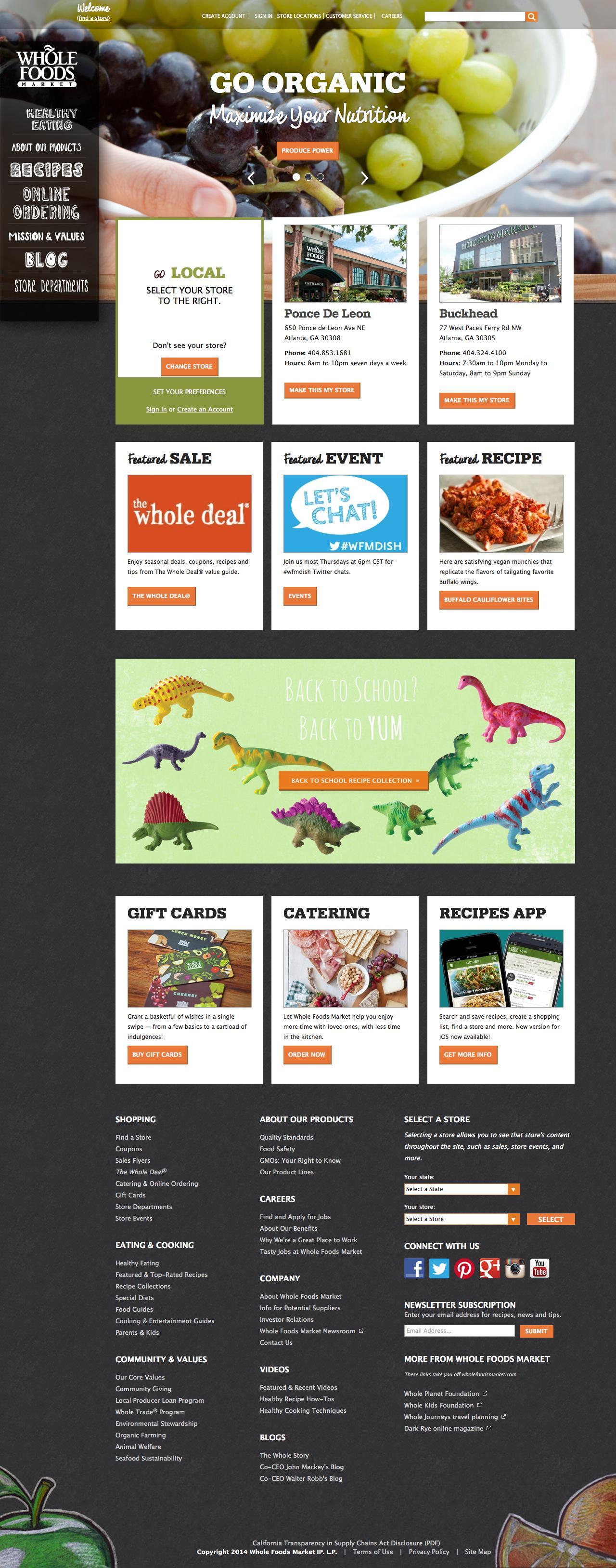 Screenshot of wholefoodsmarket.com - Whole Foods Market - captured Sept. 19, 2014