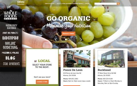 Screenshot of Home Page wholefoodsmarket.com - Whole Foods Market - captured Sept. 19, 2014