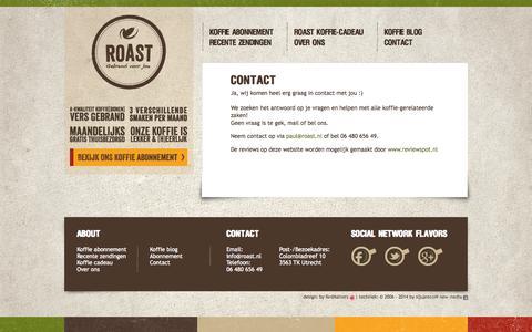 Screenshot of Contact Page roast.nl - Contact - Roast - captured Sept. 30, 2014