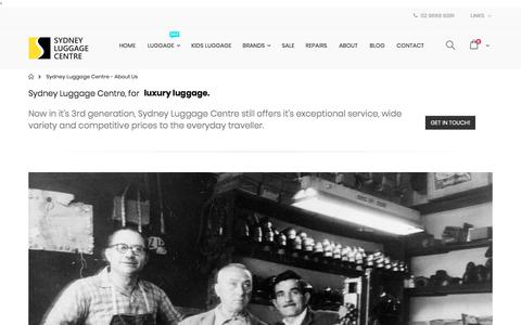 Screenshot of About Page sydneyluggage.com.au - Sydney Luggage Centre: About us Luggage, Suitcases, Carry On, Luggage Sale Australia - captured July 1, 2018