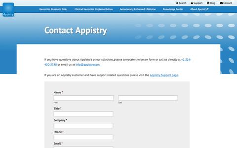 Screenshot of Contact Page appistry.com - Contact Appistry - Questions, Comments, and Other Notes - captured Sept. 13, 2014