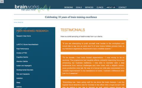 Screenshot of Testimonials Page brainworksneurotherapy.com - Testimonials – UK - captured June 2, 2017