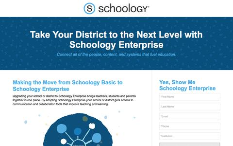 Screenshot of Landing Page schoology.com - Upgrade Your District with Schoology's Enterprise LMS - captured April 27, 2018