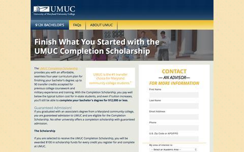 Screenshot of Landing Page umuc.edu - UMUC Completion Scholarship | UMUC - captured Oct. 5, 2016