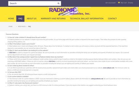 Screenshot of FAQ Page radionic.net - FAQ - Radionic Industries - captured Nov. 28, 2016