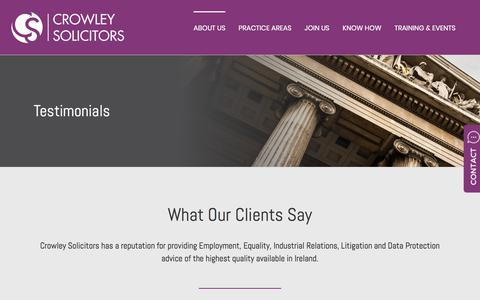 Screenshot of Testimonials Page crowleysolicitors.ie - Testimonials | Crowley Solicitors Cork | Leading Solicitor Firm Cork | Legal Advice Cork Ireland - captured July 23, 2018