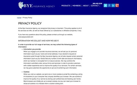 Screenshot of Privacy Page byeyourside.com - Privacy Policy | Bye Insurance Agency of Severna Park Maryland - captured Oct. 5, 2014