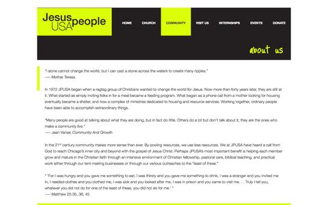Screenshot of About Page jpusa.org - ABOUT US - Jesus People USA - captured Sept. 29, 2014