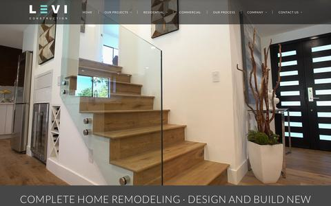 Screenshot of Home Page leviconstruction.com - Complete Home Remodeling, Design Build New Homes - captured July 18, 2018