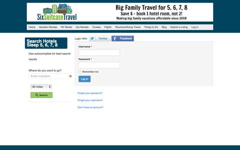 Screenshot of Login Page sixsuitcasetravel.com - Log In - Family Hotels Sleep 5, 6, 7, 8 | SixSuitcaseTravel - captured Nov. 11, 2018