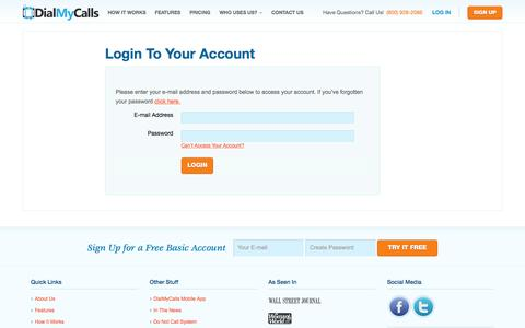 Screenshot of Login Page dialmycalls.com - Login to Your Account - DialMyCalls.com - captured Aug. 1, 2016
