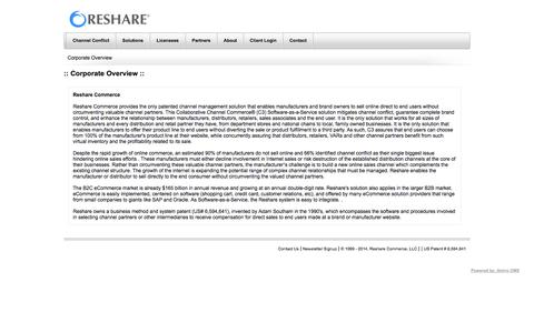 Screenshot of About Page reshare.com - Corporate Overview | Reshare Commerce - captured Oct. 7, 2014