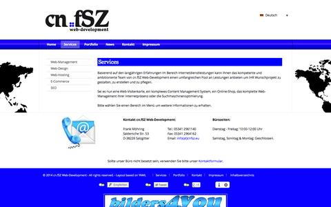 Screenshot of Services Page cnfsz.eu - Services : cn.fSZ Web-Development - captured Oct. 31, 2014