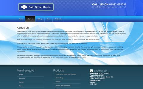 Screenshot of About Page bathstreetboxes.co.uk - About us | Bath Street Boxes - captured Oct. 5, 2014